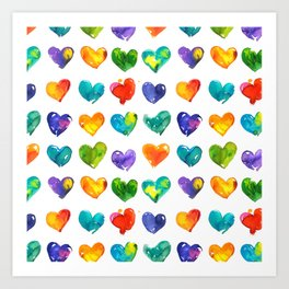 Watercolor colorful lips pattern Art Print