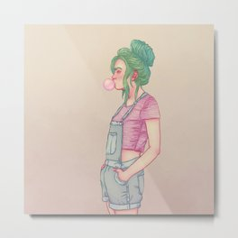Bubbly Lady Metal Print