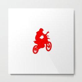 Motocross Stunt Jump Wave Silhouette Red Metal Print