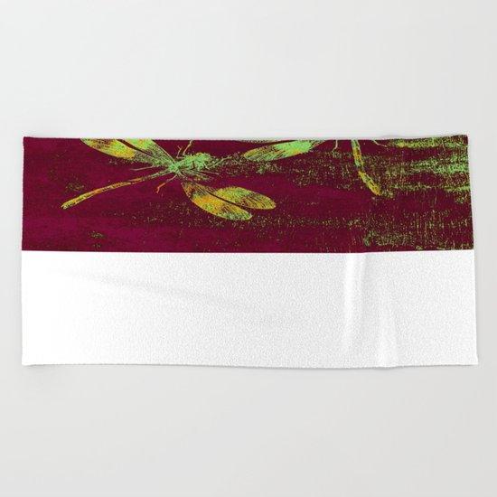 Mauritius Vintage Dragonflies QRF Beach Towel