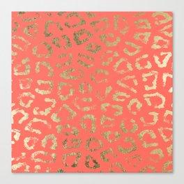 Modern coral faux gold cheetah animal print Canvas Print