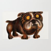bulldog Area & Throw Rugs featuring Bulldog by Riccardo Pertici