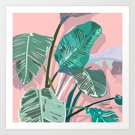 Sunset banana leaves Art Print