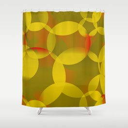 Abstract soap of lemon molecules and red bubbles on a yellow background. Shower Curtain