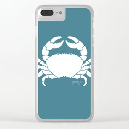 Crab Teal Background Clear iPhone Case