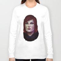 mass effect Long Sleeve T-shirts featuring Mass Effect: Commander Shepard by Ruthie Hammerschlag