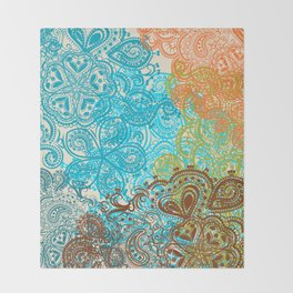Indian boho pattern with ornament in blue, ornage and green Throw Blanket