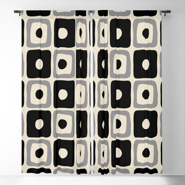 Mid Century Modern Square Dot Pattern 771 Black and Gray Blackout Curtain
