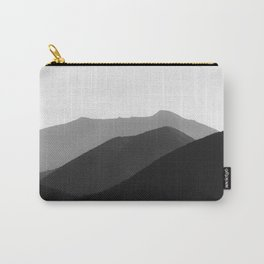 Simple Minimalist Landscape Parallax Mountain Landscape Black And White Carry-All Pouch