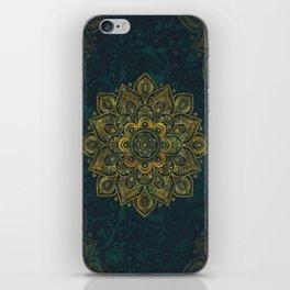 Golden Flower Mandala on Dark Turquoise iPhone Skin