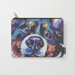 Berner Bernese Mountain Dog Portrait Pop Art painting by Lea Carry-All Pouch