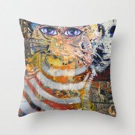 Enchanted Feline and Mona Throw Pillow