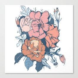 Rose Garden - Orange & Blue Canvas Print