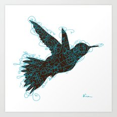 Bird Fly No. 1 (Black/Aqua) Art Print