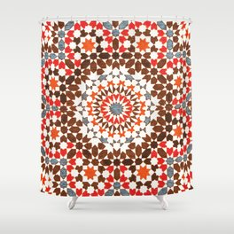 N64 - Traditional Geometric Moroccan Vintage Style Artwork Shower Curtain