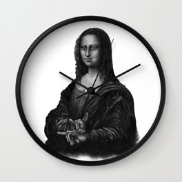 Mona Lisa With Sign Of The Horns Wall Clock