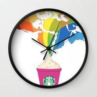 starbucks Wall Clocks featuring Starbucks Pop Art by Tiffany Taimoorazy