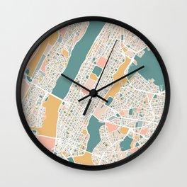 Manhattan New York Map Art Wall Clock