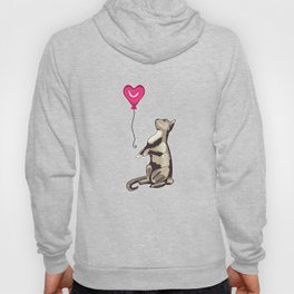 Cat with a Heart Balloon Illustration Hoody