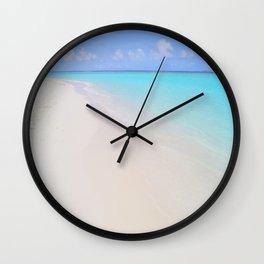 beach (Maldives White Sand Beach) Wall Clock
