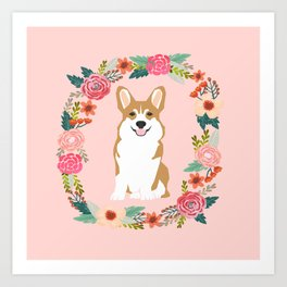 corgi red coat floral wreath flowers dog breed gifts corgis Art Print
