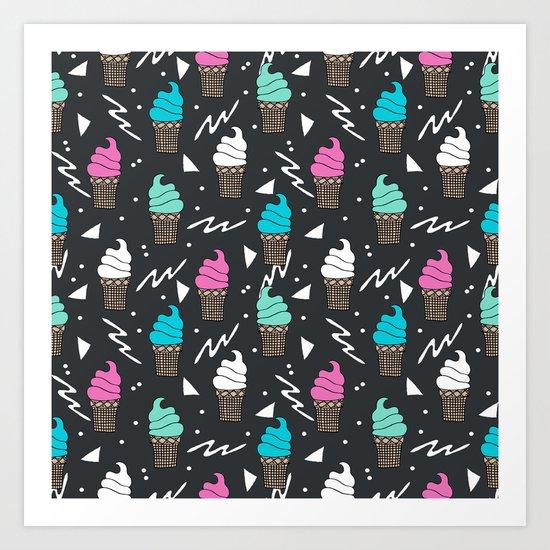 Ice cream dole whip rad geometric dessert treats pattern by andrea lauren Art Print