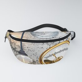 Steampunk Industrial Background with Manometer and Electric Lamp Fanny Pack