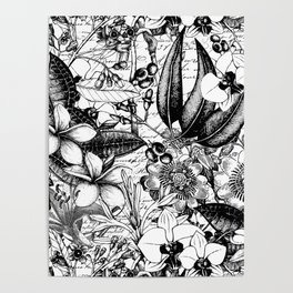 Black And White Tropical Flower Pattern Poster