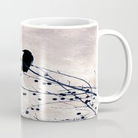 crow Mugs featuring Crow by Maite Pons