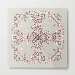 Damask pink gray Metal Print