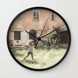 Playful in Nature | Happy Wild Skipping Child Vintage Outdoor Field Rustic Charming Country Farm Wall Clock
