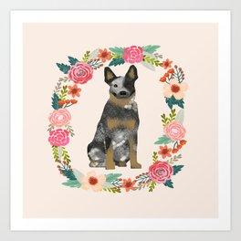 Australian Cattle Dog blue heeler floral wreath dog gifts pet portraits Art Print