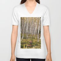 helen V-neck T-shirts featuring Regrowth from Mount Saint Helen by Amanda Picotte