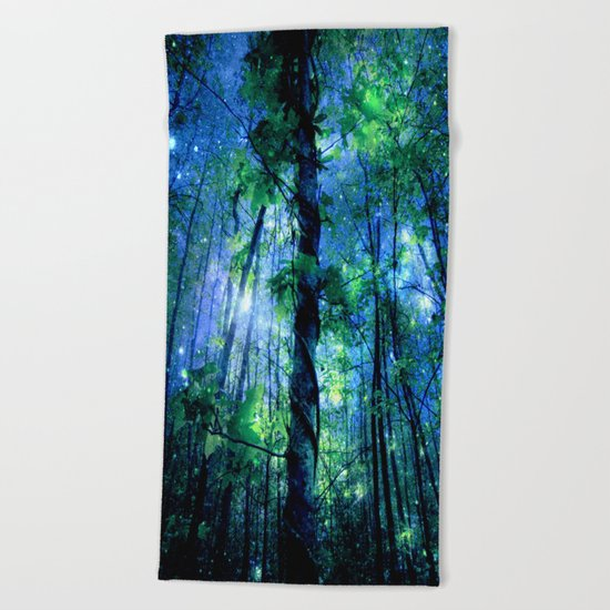 Forest of the Fairies Blue Night Beach Towel
