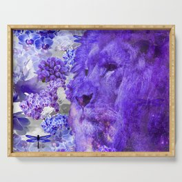 LION AND ORCHIDS  PURPLE AND BLUE FANTASY DREAM Serving Tray