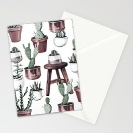 Happy Potted Cacti in Rose Gold Pots Stationery Cards