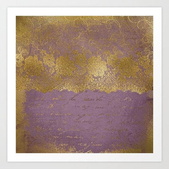 Romantic Bridal lace - Gold floral elegant lace on old purple paper Art Print