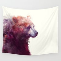 jazzberry blue Wall Tapestries featuring Bear // Calm by Amy Hamilton