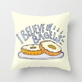 I Believe in Bagels Throw Pillow