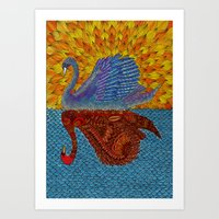 Mirrored Swan Colored Art Print