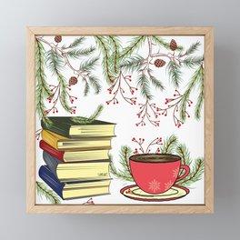 Winter Books and Tea Framed Mini Art Print