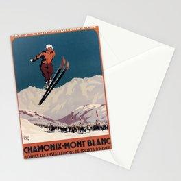 retro vintage chamonix mont blanc toutes les installations de sports dhiver plm poster Stationery Cards