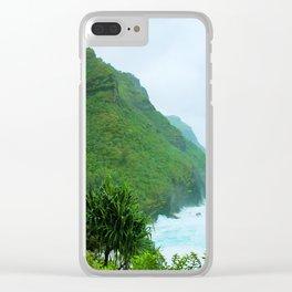 green mountain with blue ocean view at Kauai, Hawaii, USA Clear iPhone Case