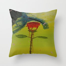 Blurry hummingbird and a melting roze Throw Pillow