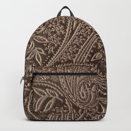 Cocoa Brown Tooled Leather Backpack