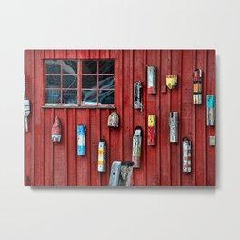 Red Wall Buoy Metal Print