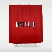 netflix Shower Curtains featuring Netflix Logo by TParish Productions