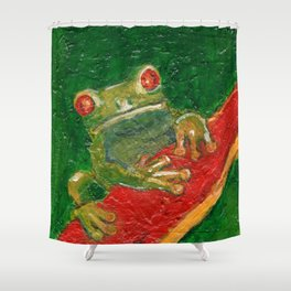 Red Eyed Frog Shower Curtain