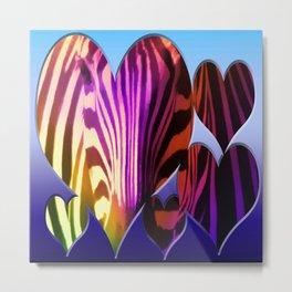 Heart Rainbow Zebra Metal Print