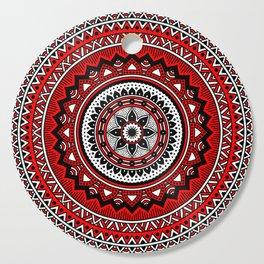 Red and Black Mandala Cutting Board